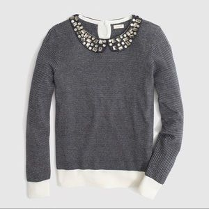 J. Crew Stripe Sweater Jeweled Peter Pan Collar S